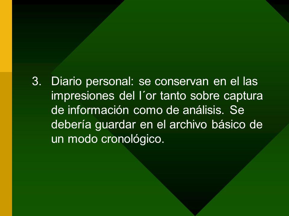 3.Diario personal: se conservan en el las impresiones del I´or tanto sobre captura de información como de análisis. Se debería guardar en el archivo b