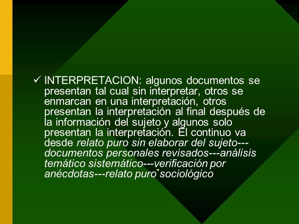 INTERPRETACION: algunos documentos se presentan tal cual sin interpretar, otros se enmarcan en una interpretación, otros presentan la interpretación a
