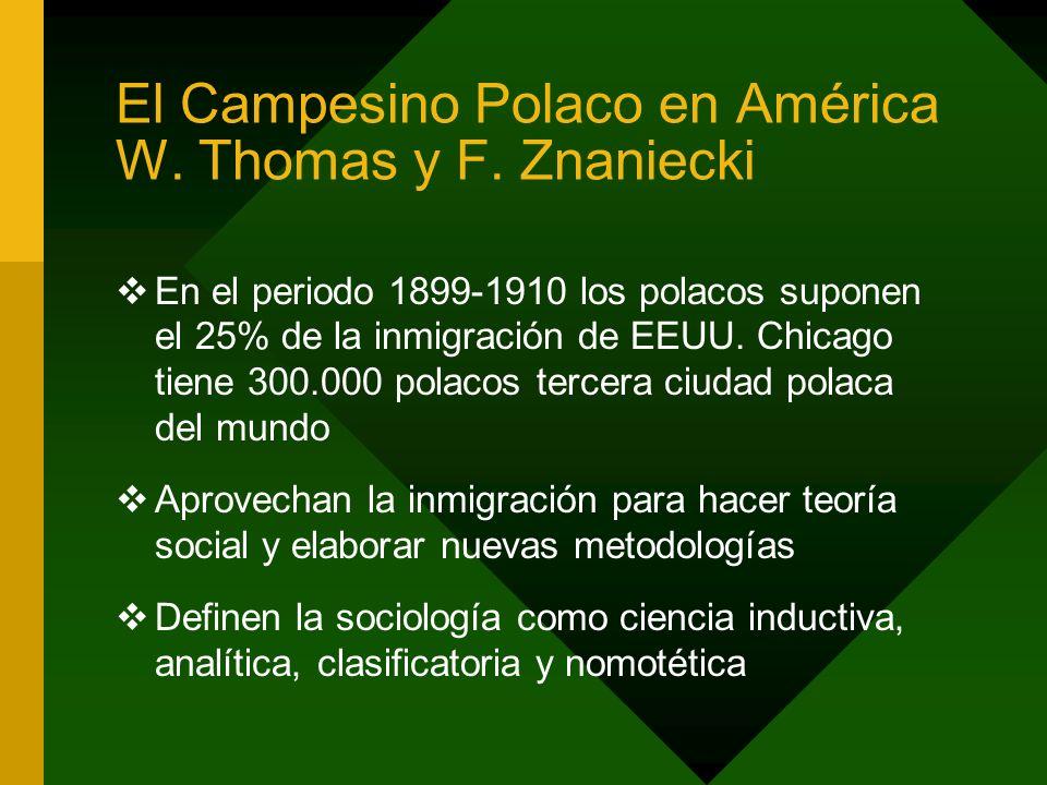 El Campesino Polaco en América W. Thomas y F. Znaniecki En el periodo 1899-1910 los polacos suponen el 25% de la inmigración de EEUU. Chicago tiene 30
