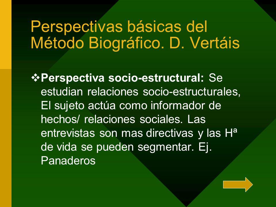 Perspectivas básicas del Método Biográfico. D. Vertáis Perspectiva socio-estructural: Se estudian relaciones socio-estructurales, El sujeto actúa como
