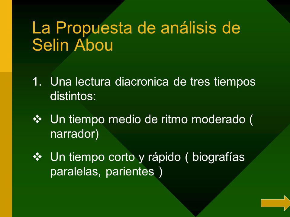La Propuesta de análisis de Selin Abou 1.Una lectura diacronica de tres tiempos distintos: Un tiempo medio de ritmo moderado ( narrador) Un tiempo cor