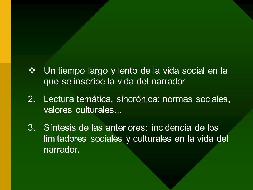 Un tiempo largo y lento de la vida social en la que se inscribe la vida del narrador 2.Lectura temática, sincrónica: normas sociales, valores cultural