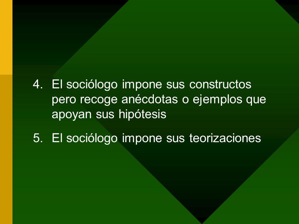 4.El sociólogo impone sus constructos pero recoge anécdotas o ejemplos que apoyan sus hipótesis 5.El sociólogo impone sus teorizaciones