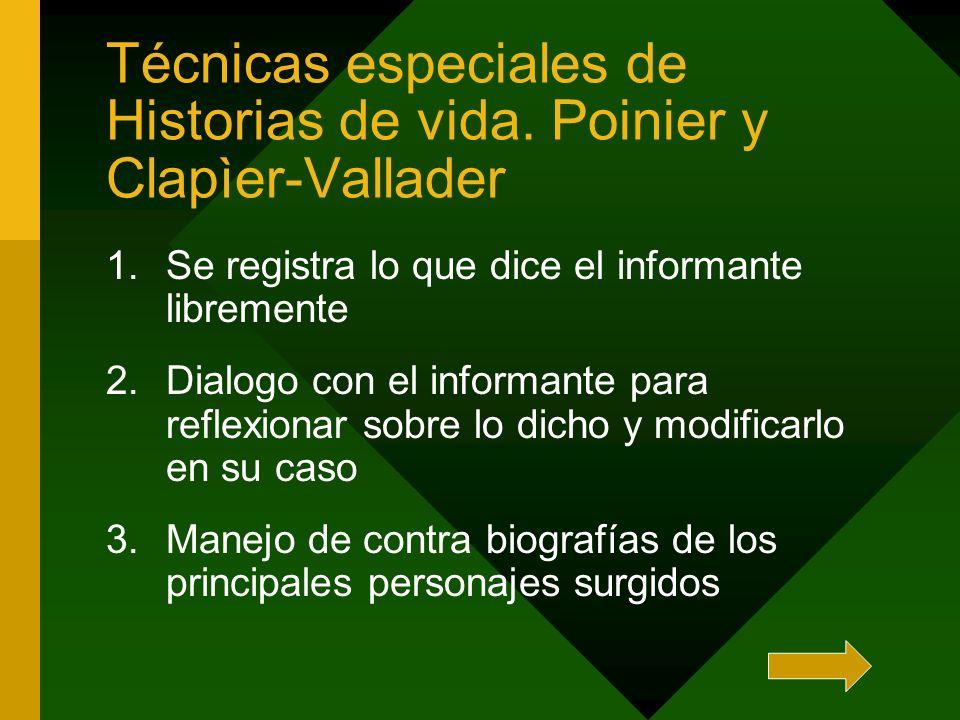 Técnicas especiales de Historias de vida. Poinier y Clapìer-Vallader 1.Se registra lo que dice el informante libremente 2.Dialogo con el informante pa