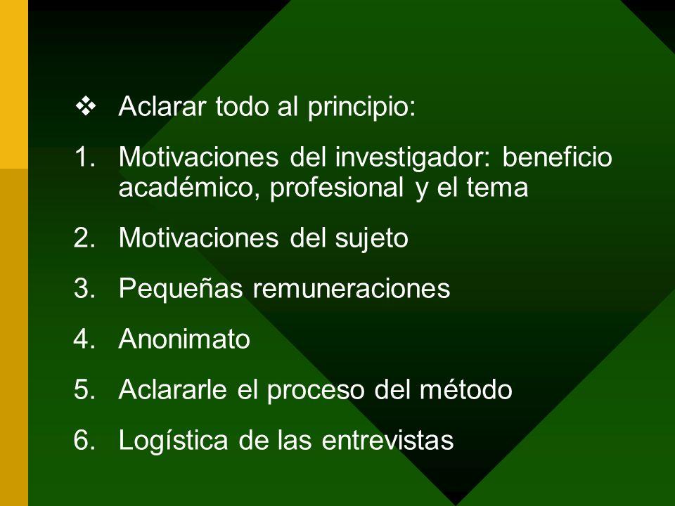Aclarar todo al principio: 1.Motivaciones del investigador: beneficio académico, profesional y el tema 2.Motivaciones del sujeto 3.Pequeñas remuneraci