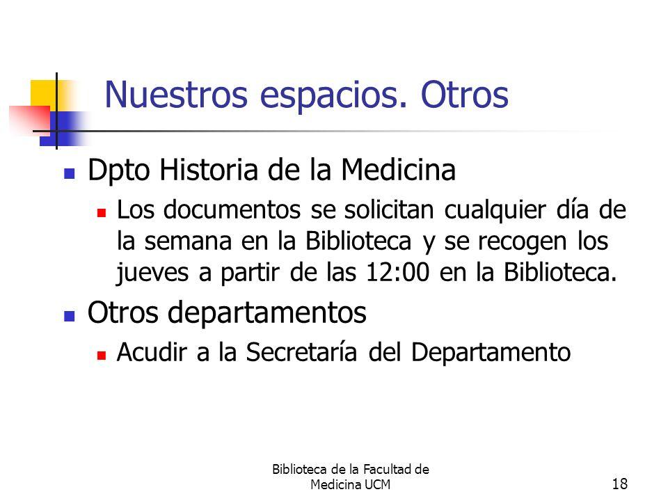 Biblioteca de la Facultad de Medicina UCM 18 Nuestros espacios. Otros Dpto Historia de la Medicina Los documentos se solicitan cualquier día de la sem