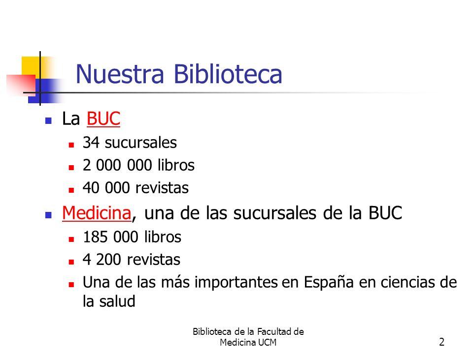 Biblioteca de la Facultad de Medicina UCM 2 Nuestra Biblioteca La BUCBUC 34 sucursales 2 000 000 libros 40 000 revistas Medicina, una de las sucursale