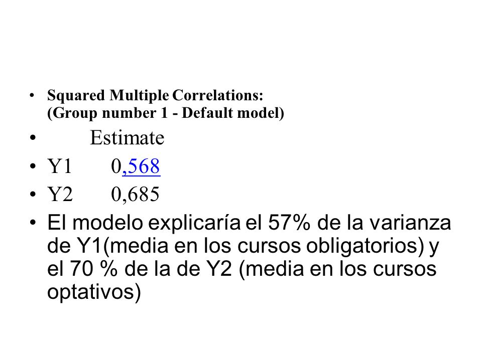 Squared Multiple Correlations: (Group number 1 - Default model) Estimate Y1 0,568 Y2 0,685 El modelo explicaría el 57% de la varianza de Y1(media en l