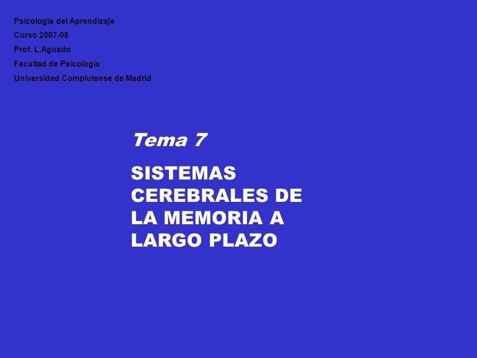 Tema 7 SISTEMAS CEREBRALES DE LA MEMORIA A LARGO PLAZO Psicología del Aprendizaje Curso 2007-08 Prof. L.Aguado Facultad de Psicología Universidad Comp