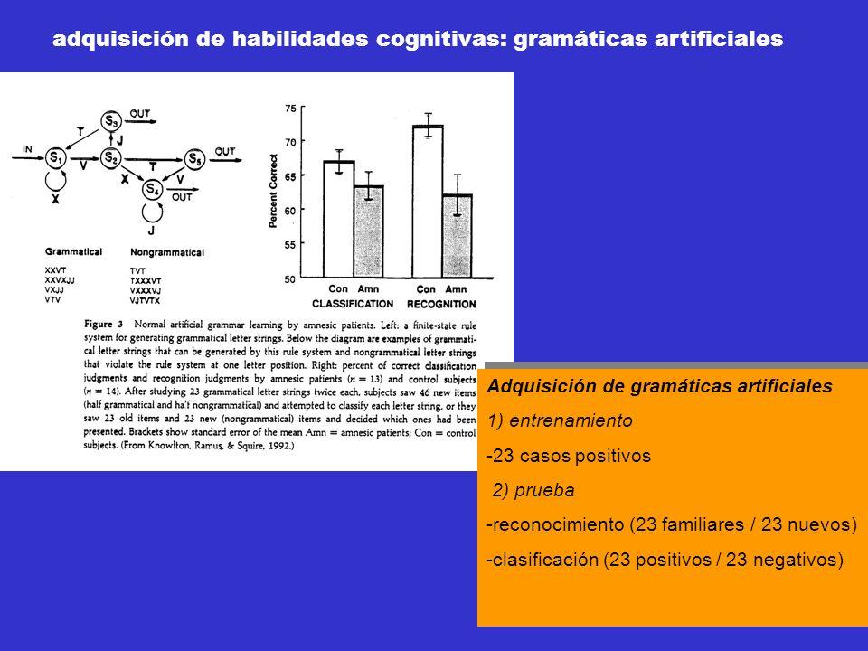 Adquisición de gramáticas artificiales 1) entrenamiento -23 casos positivos 2) prueba -reconocimiento (23 familiares / 23 nuevos) -clasificación (23 p