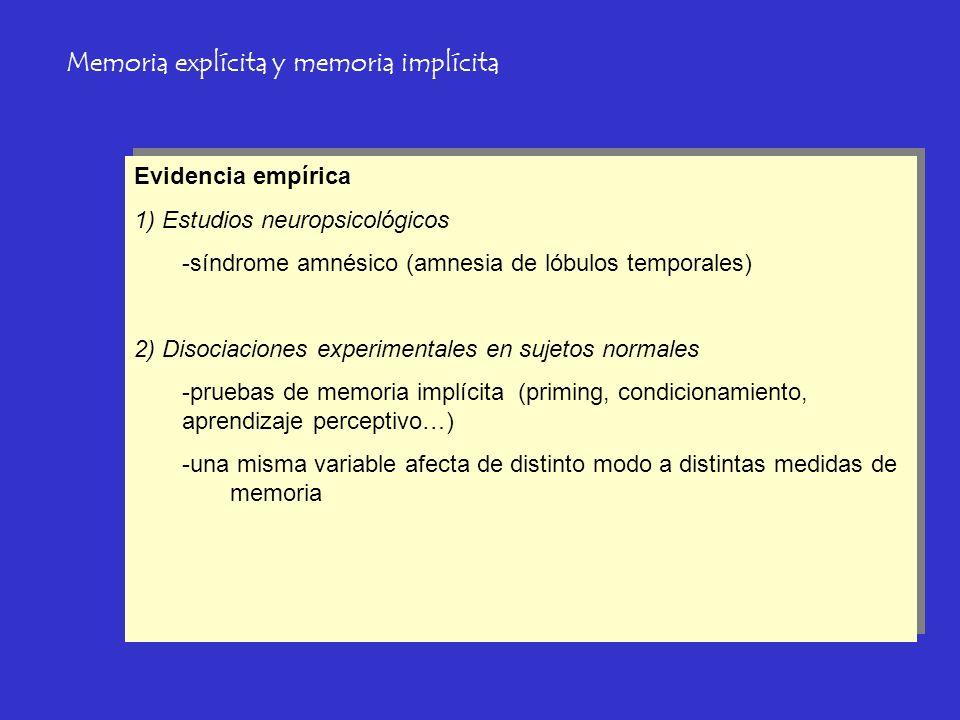 Memoria explícita y memoria implícita Evidencia empírica 1) Estudios neuropsicológicos -síndrome amnésico (amnesia de lóbulos temporales) 2) Disociaci