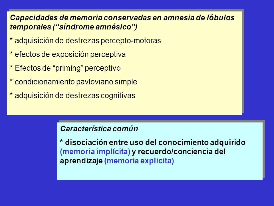 Capacidades de memoria conservadas en amnesia de lóbulos temporales (síndrome amnésico) * adquisición de destrezas percepto-motoras * efectos de expos