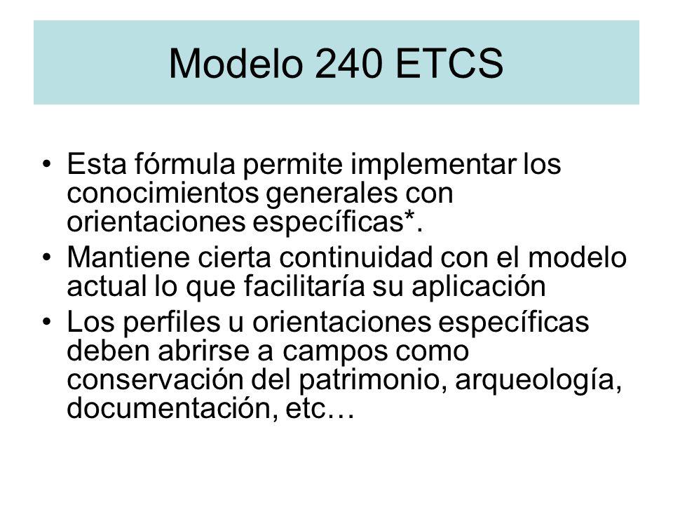 Modelo 240 ETCS Esta fórmula permite implementar los conocimientos generales con orientaciones específicas*.