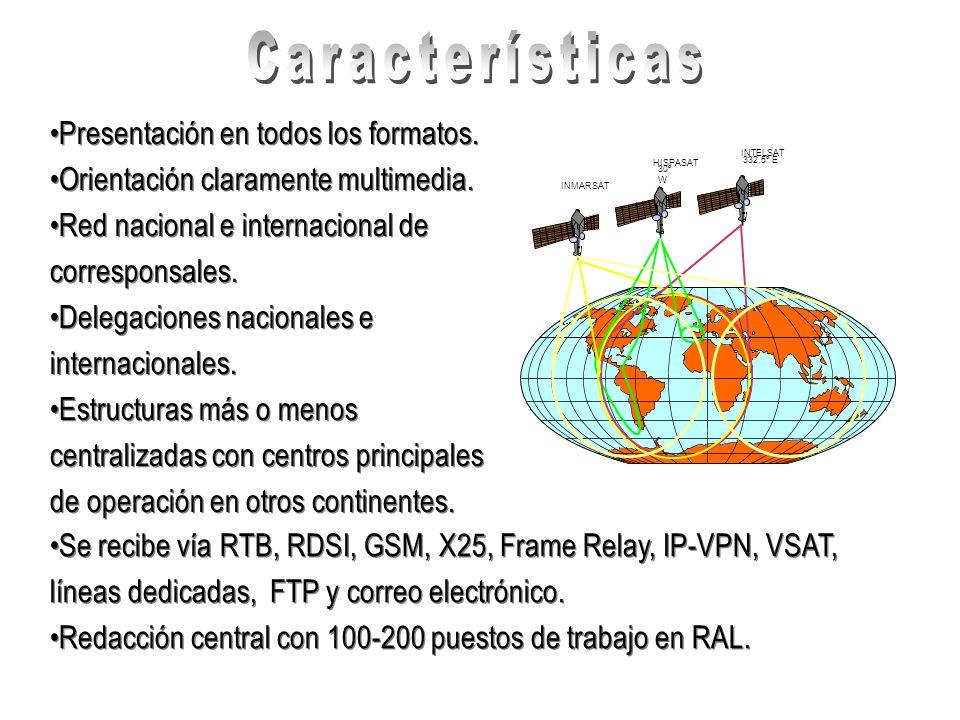 Presentación en todos los formatos. Orientación claramente multimedia. Red nacional e internacional de corresponsales. Delegaciones nacionales e inter