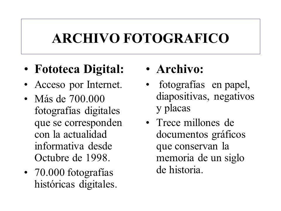 ARCHIVO FOTOGRAFICO Fototeca Digital: Acceso por Internet. Más de 700.000 fotografías digitales que se corresponden con la actualidad informativa desd