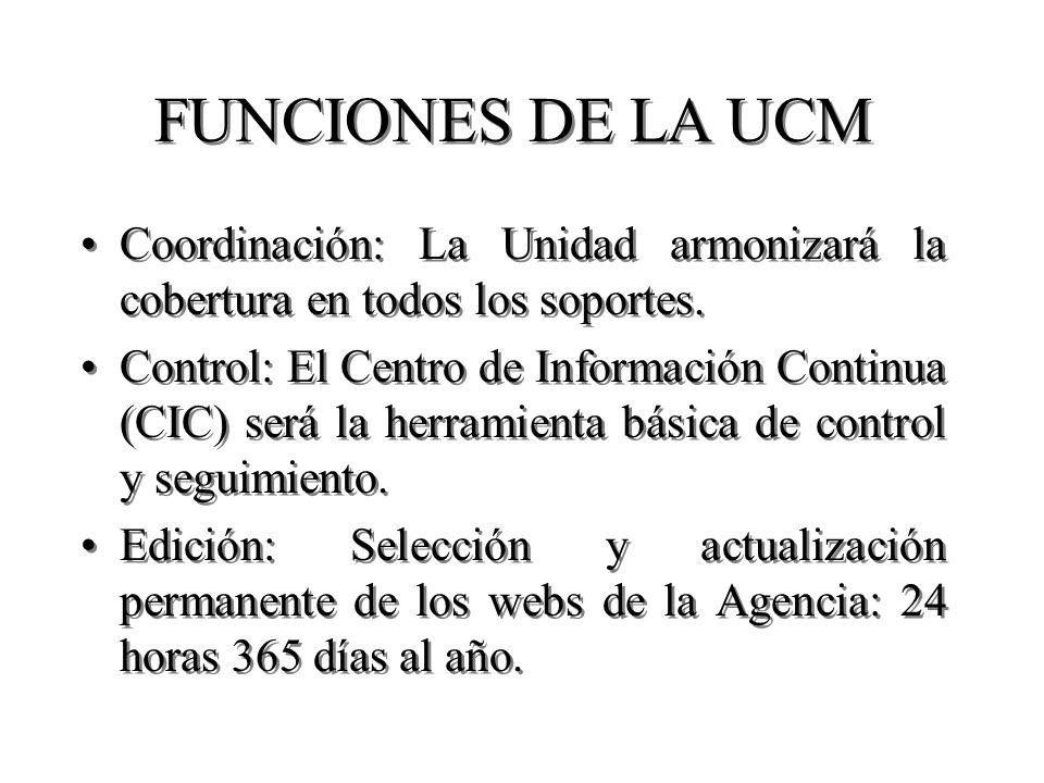 FUNCIONES DE LA UCM Coordinación: La Unidad armonizará la cobertura en todos los soportes. Control: El Centro de Información Continua (CIC) será la he