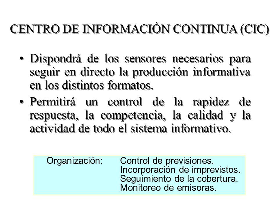 CENTRO DE INFORMACIÓN CONTINUA (CIC) Dispondrá de los sensores necesarios para seguir en directo la producción informativa en los distintos formatos.
