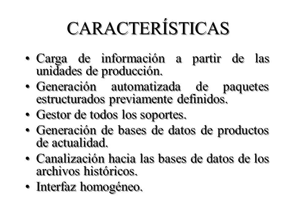 CARACTERÍSTICAS Carga de información a partir de las unidades de producción. Generación automatizada de paquetes estructurados previamente definidos.