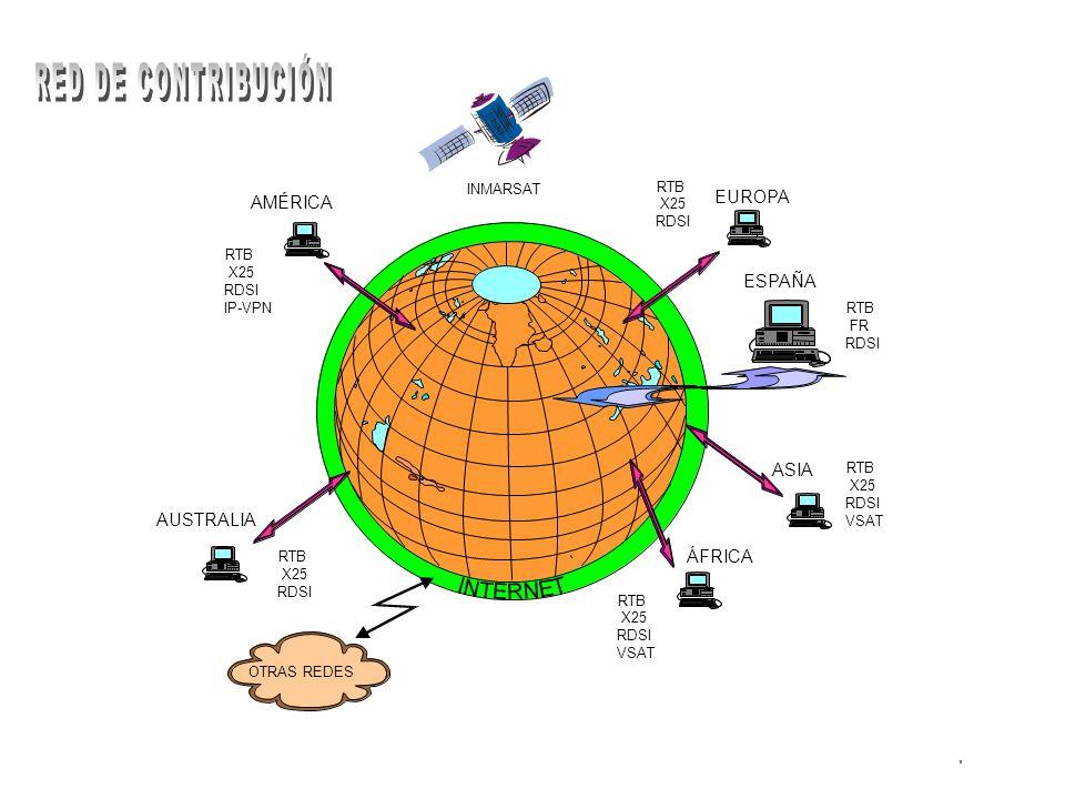 EUROPA ESPAÑA ASIA ÁFRICA AUSTRALIA AMÉRICA OTRAS REDES RTB X25 RDSI IP-VPN RTB X25 RDSI RTB X25 RDSI RTB FR RDSI RTB X25 RDSI VSAT RTB X25 RDSI VSAT