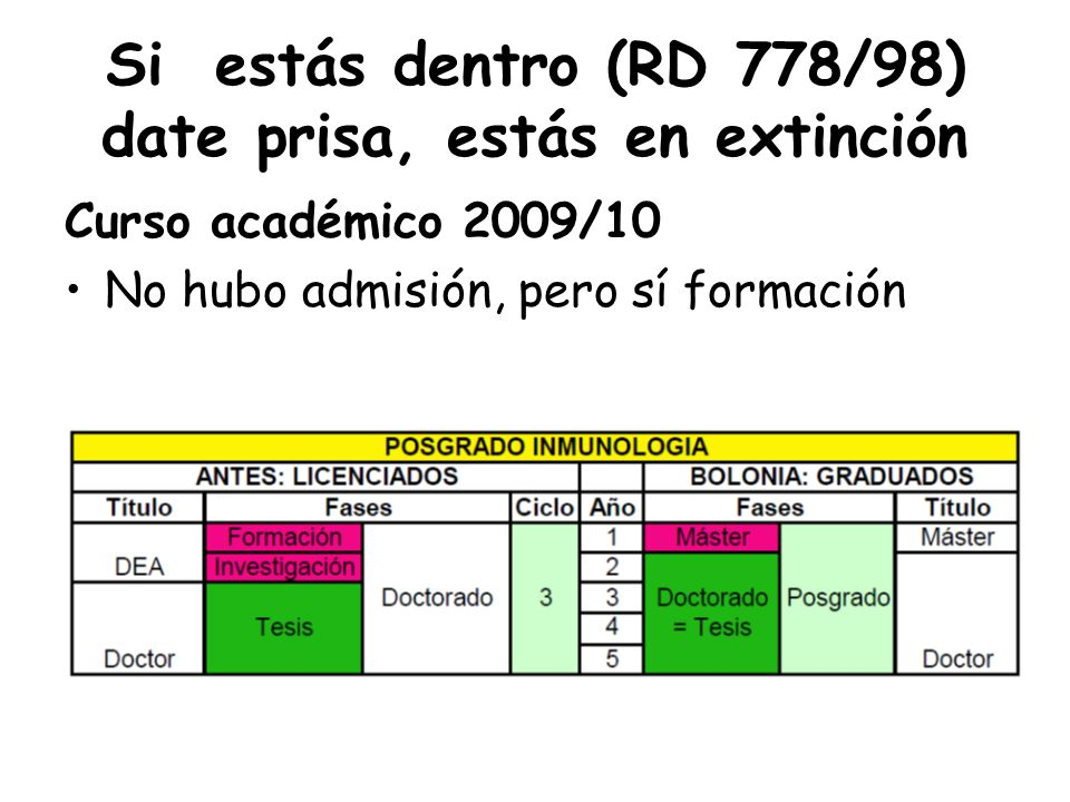 Si estás dentro (RD 778/98) date prisa, estás en extinción Curso académico 2009/10 No hubo admisión, pero sí formación