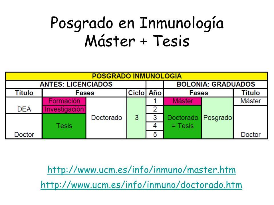 Posgrado en Inmunología Máster + Tesis http://www.ucm.es/info/inmuno/master.htm http://www.ucm.es/info/inmuno/doctorado.htm