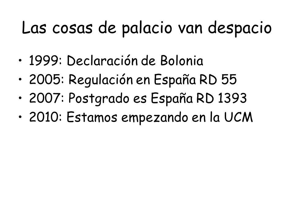 Las cosas de palacio van despacio 1999: Declaración de Bolonia 2005: Regulación en España RD 55 2007: Postgrado es España RD 1393 2010: Estamos empeza