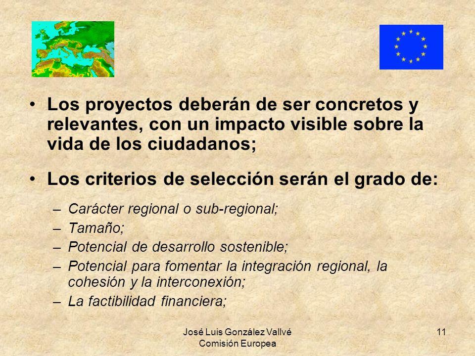 José Luis González Vallvé Comisión Europea 11 Los proyectos deberán de ser concretos y relevantes, con un impacto visible sobre la vida de los ciudada