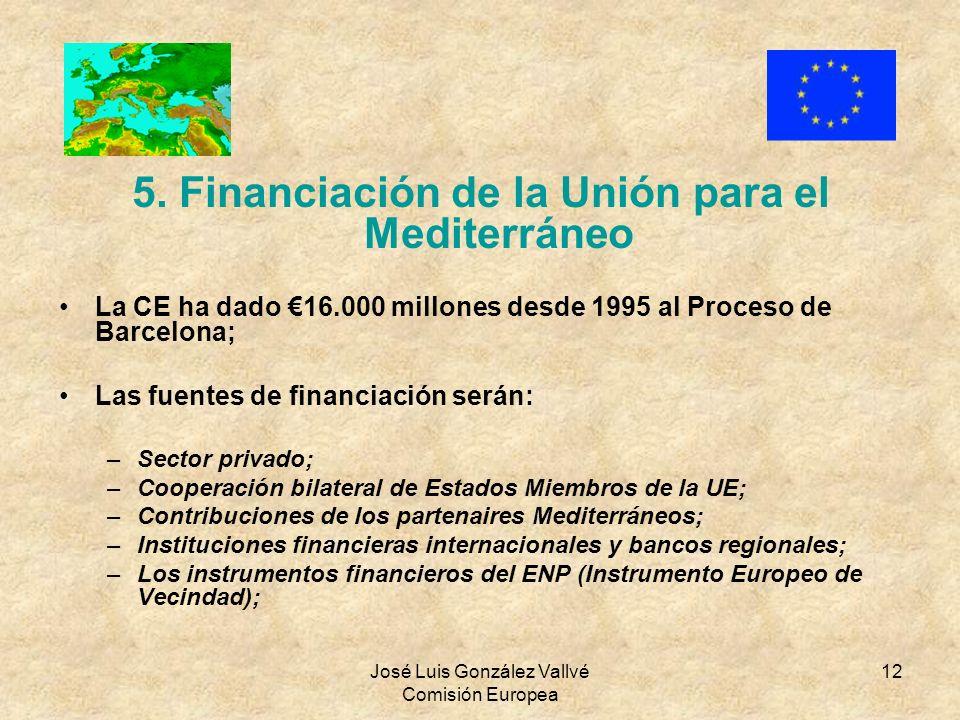 José Luis González Vallvé Comisión Europea 12 5. Financiación de la Unión para el Mediterráneo La CE ha dado 16.000 millones desde 1995 al Proceso de
