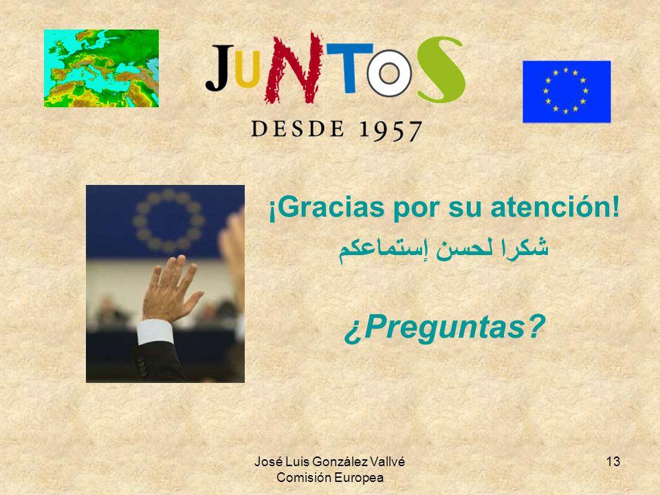 José Luis González Vallvé Comisión Europea 13 ¡Gracias por su atención! شكرا لحسن إستماعكم ¿Preguntas?