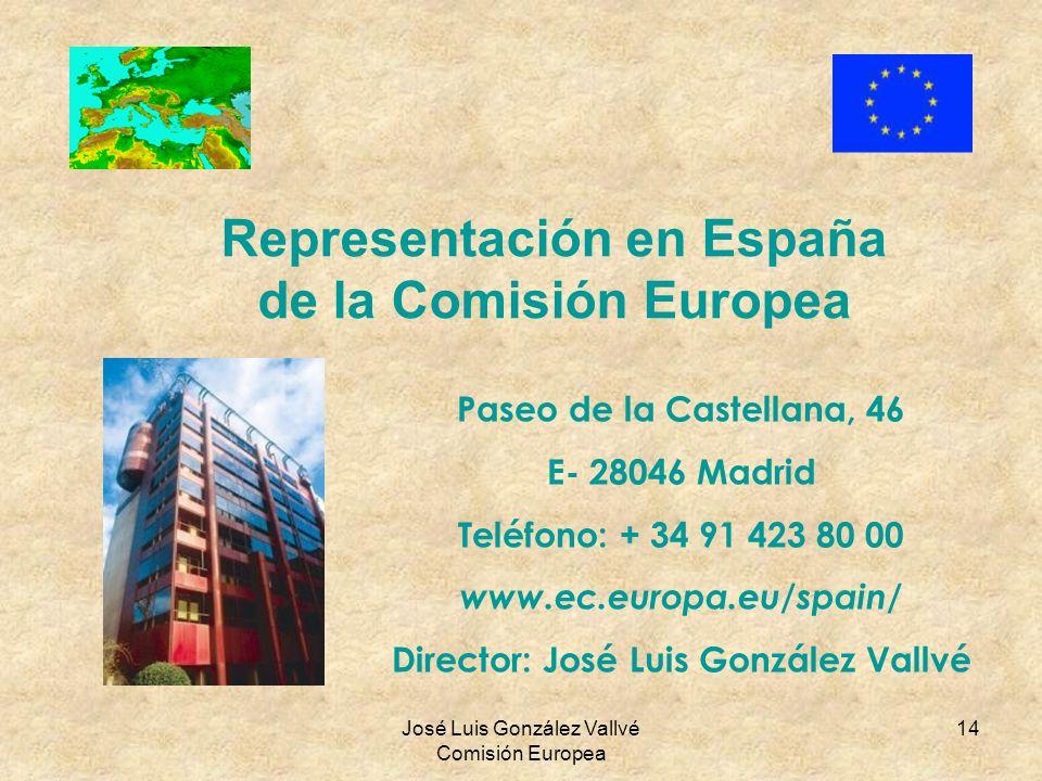 José Luis González Vallvé Comisión Europea 14 Representación en España de la Comisión Europea Paseo de la Castellana, 46 E- 28046 Madrid Teléfono: + 3