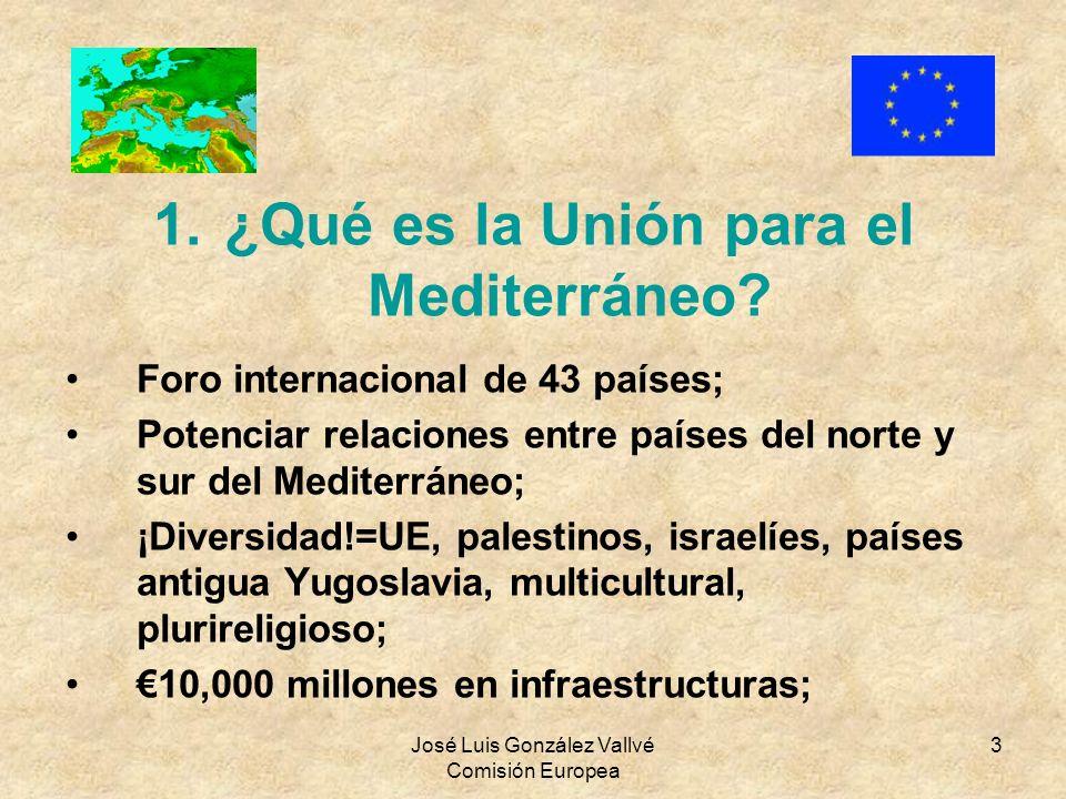 José Luis González Vallvé Comisión Europea 3 1.¿Qué es la Unión para el Mediterráneo? Foro internacional de 43 países; Potenciar relaciones entre país