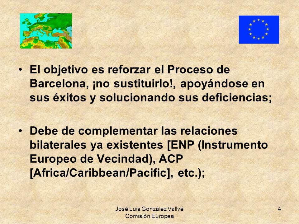 José Luis González Vallvé Comisión Europea 4 El objetivo es reforzar el Proceso de Barcelona, ¡no sustituirlo!, apoyándose en sus éxitos y solucionand