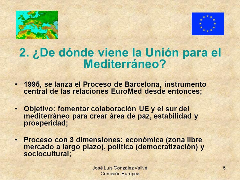 José Luis González Vallvé Comisión Europea 5 2. ¿De dónde viene la Unión para el Mediterráneo? 1995, se lanza el Proceso de Barcelona, instrumento cen