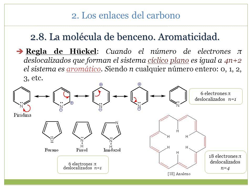 2. Los enlaces del carbono 2.8.La molécula de benceno. Aromaticidad. El benceno es una molécula muy importante de estructura tan característica que si