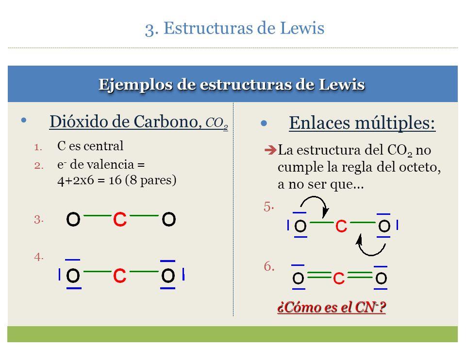 3.3.Reglas de Lewis 1.Se elige el átomo central NUNCA H. Generalmente es el menos electronegativo. 2.Se cuentan los e - de valencia. 3.Se forman enlac