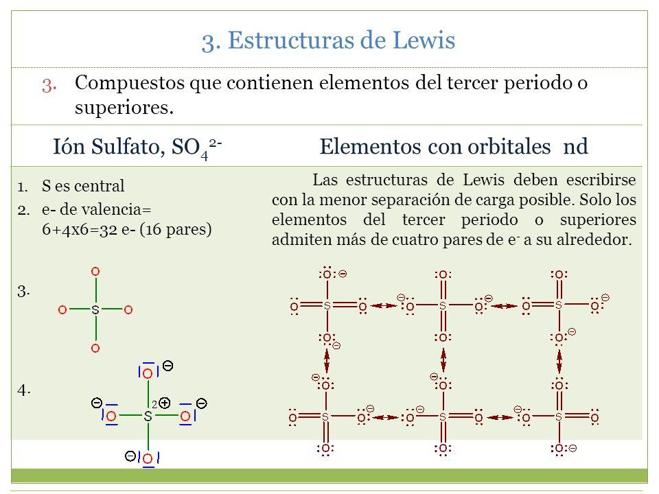3. Estructuras de Lewis 3.4.Violaciones a la regla del octete 1. Especies con un número impar de electrones. 2. Algunos compuestos que contienen eleme