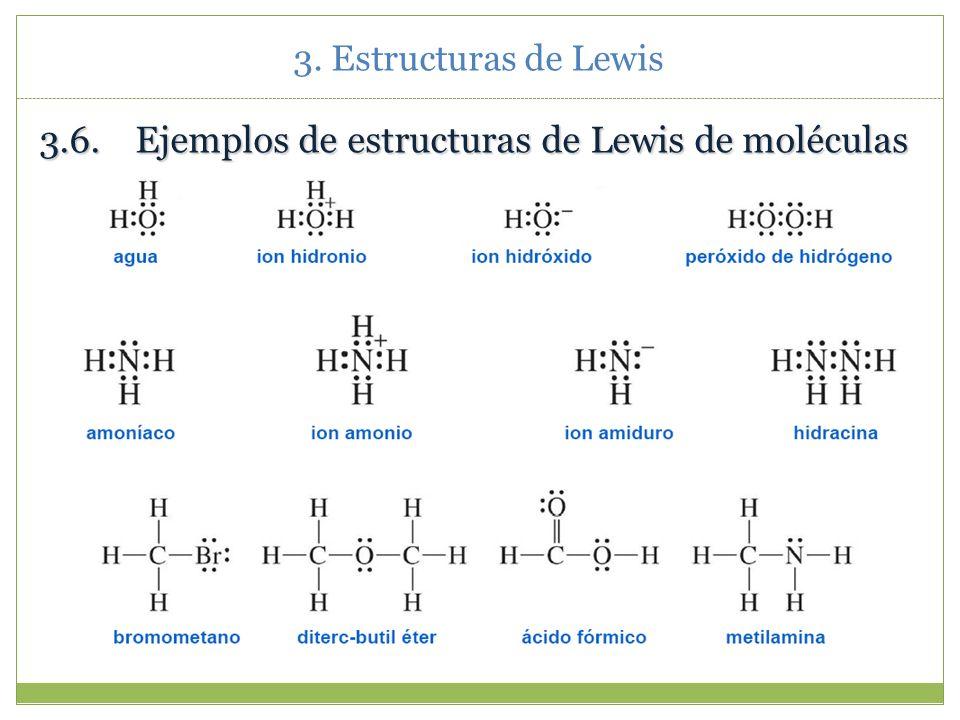 3. Estructuras de Lewis 3.5.Resumen de las reglas de Lewis Cuenta los electrones de valencia (no olvidar las cargas si se trata de un ión molecular).