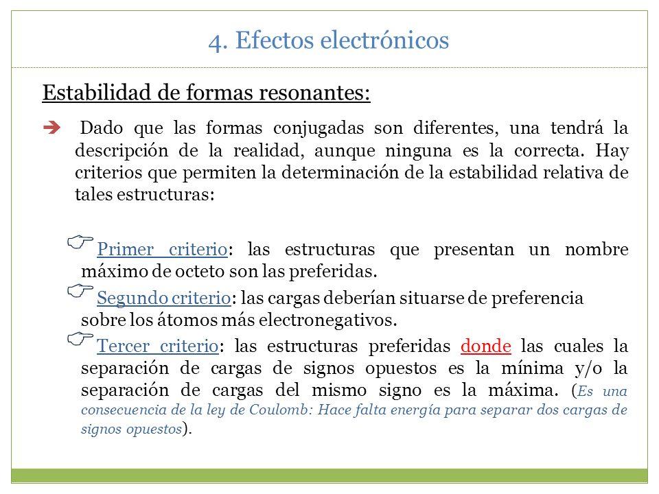 4.4.Efecto mesómero a) a) Deslocalización electrónica, resonancia y formas resonantes Reglas para dibujar formas resonantes: Todas las formas resonant