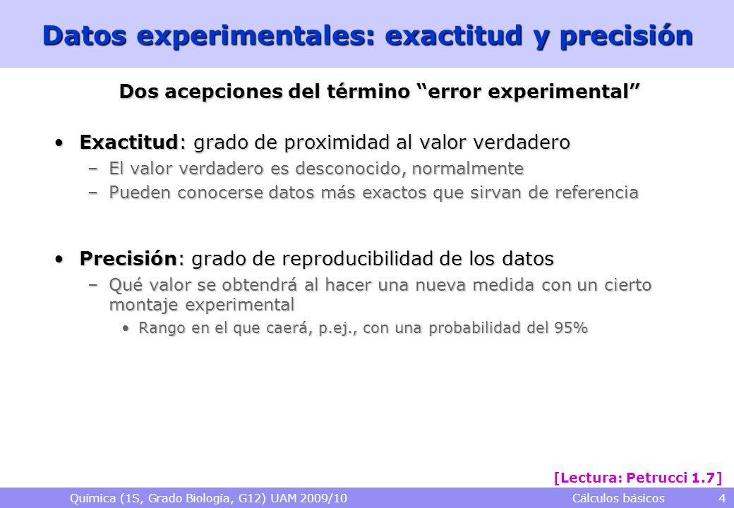 Química (1S, Grado Biología, G12) UAM 2009/10 Cálculos básicos 4 Datos experimentales: exactitud y precisión Dos acepciones del término error experime