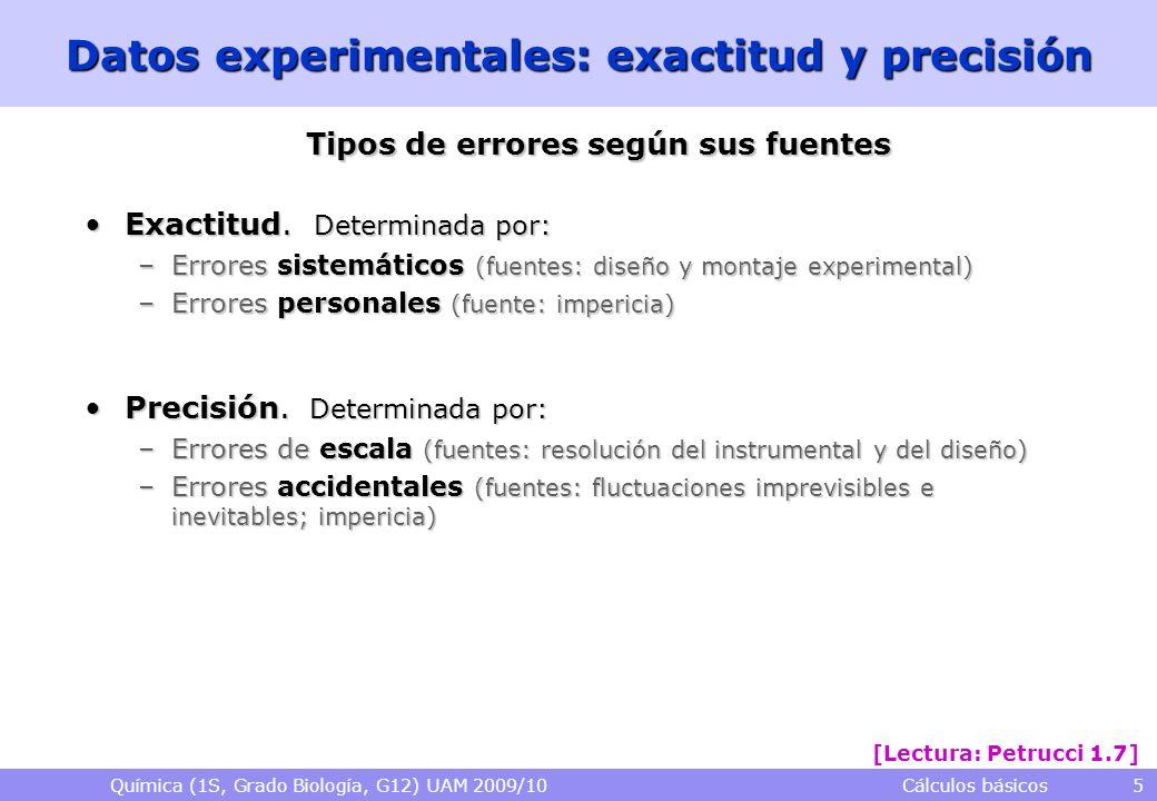 Química (1S, Grado Biología, G12) UAM 2009/10 Cálculos básicos 5 Datos experimentales: exactitud y precisión Tipos de errores según sus fuentes Exacti