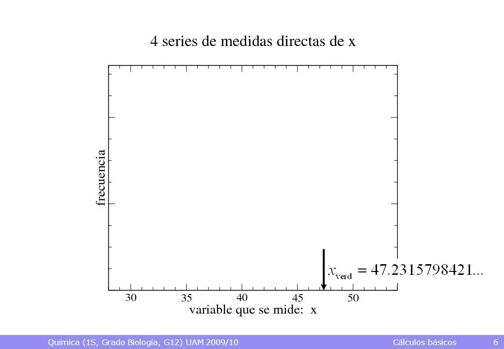 Química (1S, Grado Biología, G12) UAM 2009/10 Cálculos básicos 6