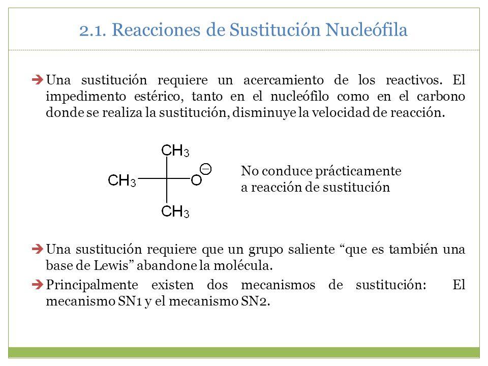2.1. Reacciones de Sustitución Nucleófila Una sustitución requiere un acercamiento de los reactivos. El impedimento estérico, tanto en el nucleófilo c