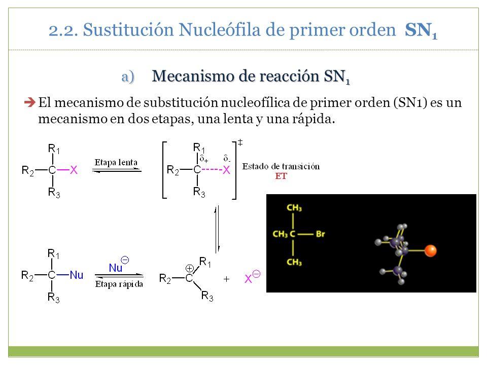 2.2. Sustitución Nucleófila de primer orden SN 1 a) Mecanismo de reacción SN 1 El mecanismo de substitución nucleofílica de primer orden (SN1) es un m