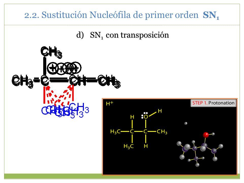 d)SN 1 con transposición 2.2. Sustitución Nucleófila de primer orden SN 1
