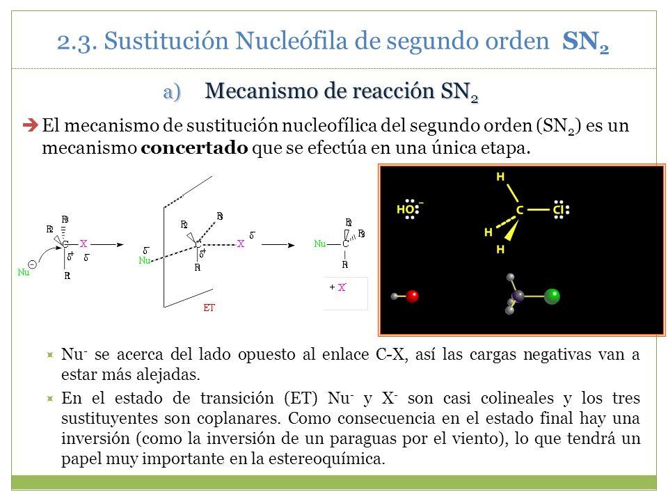 2.3. Sustitución Nucleófila de segundo orden SN 2 a) Mecanismo de reacción SN 2 El mecanismo de sustitución nucleofílica del segundo orden (SN 2 ) es