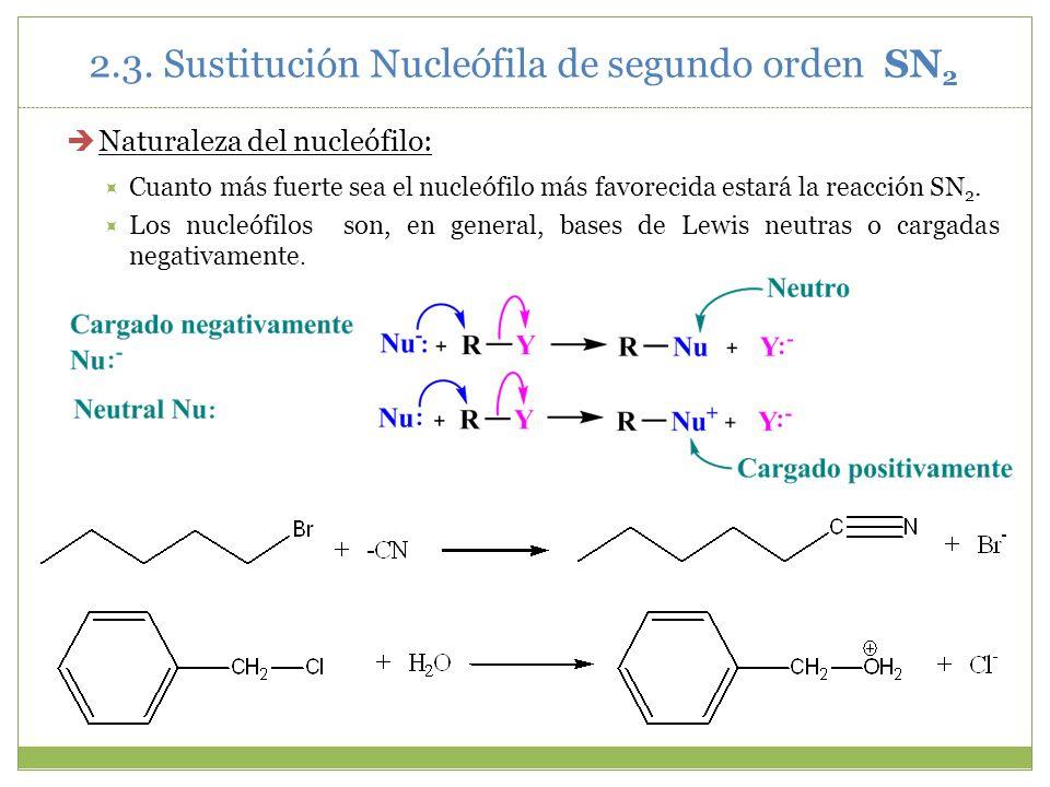 Naturaleza del nucleófilo: Cuanto más fuerte sea el nucleófilo más favorecida estará la reacción SN 2. Los nucleófilos son, en general, bases de Lewis