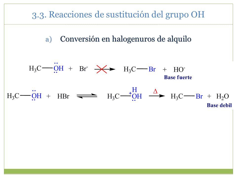 a) Conversión en halogenuros de alquilo 3.3. Reacciones de sustitución del grupo OH
