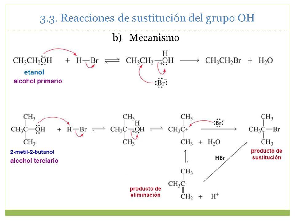 b)Mecanismo 3.3. Reacciones de sustitución del grupo OH