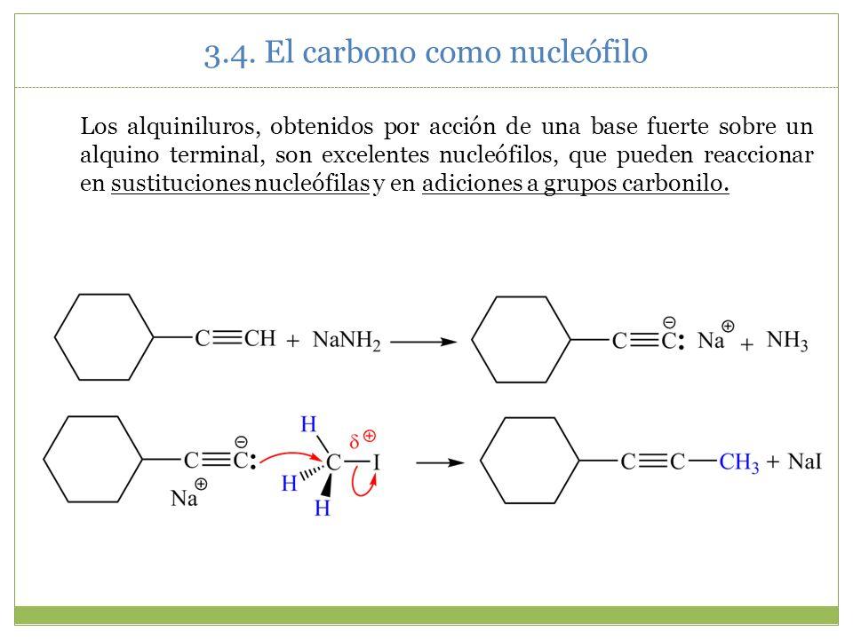 Los alquiniluros, obtenidos por acción de una base fuerte sobre un alquino terminal, son excelentes nucleófilos, que pueden reaccionar en sustitucione