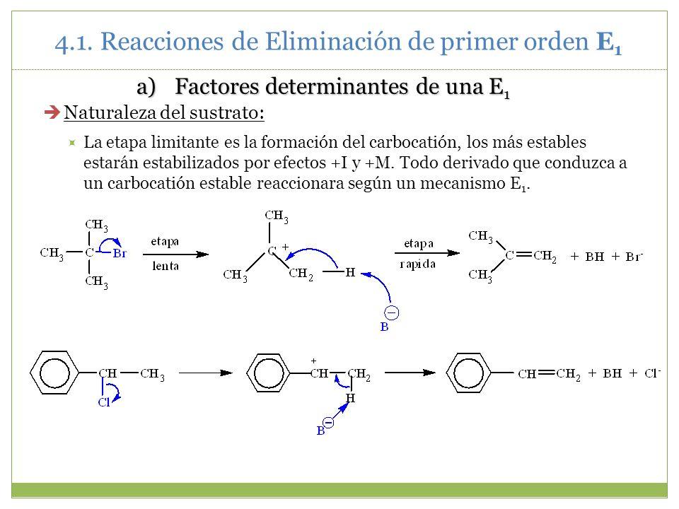 a)Factores determinantes de una E 1 Naturaleza del sustrato: La etapa limitante es la formación del carbocatión, los más estables estarán estabilizado